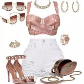 top,rose gold bustier
