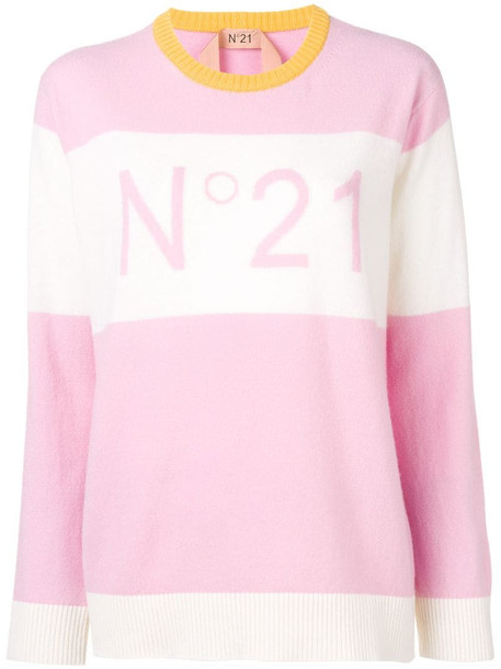 Nº21 jacquard logo knit sweater in pink