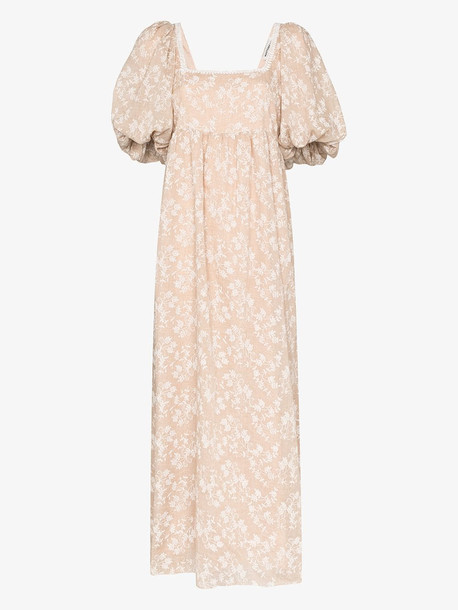 Masterpeace floral cotton jacquard maxi dress in neutrals