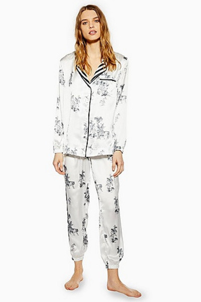 Topshop Monochrome Jungle Print Pyjama Trousers - Monochrome