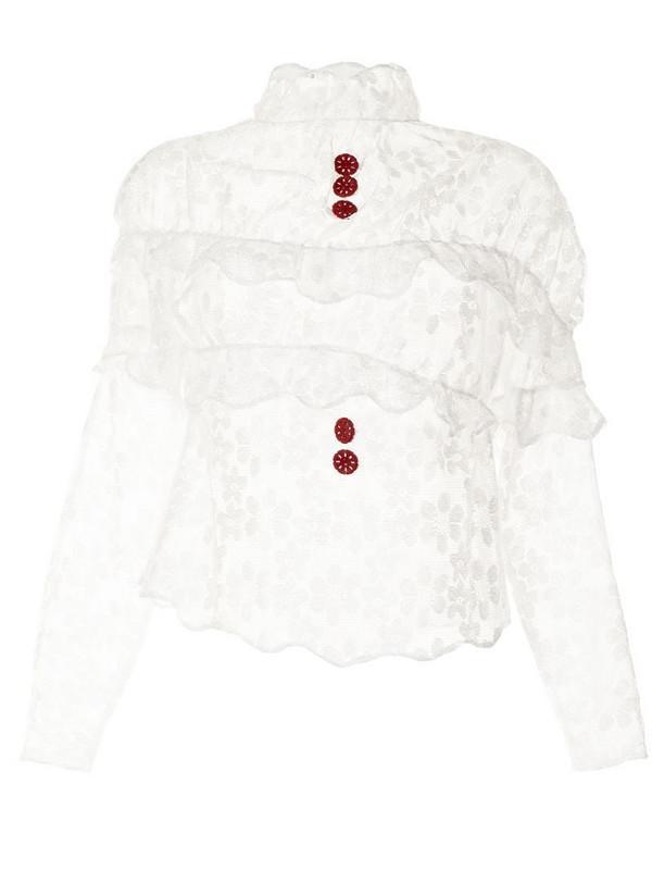 yuhan wang ruffled lace dress in white