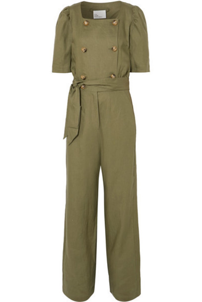 Lisa Marie Fernandez - Diana Belted Double-breasted Linen Jumpsuit - Army green
