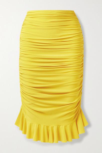 NORMA KAMALI - Ruffled Ruched Stretch-jersey Skirt - Yellow