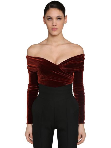 ALEXANDRE VAUTHIER Off Shoulder Stretch Velvet Bodysuit