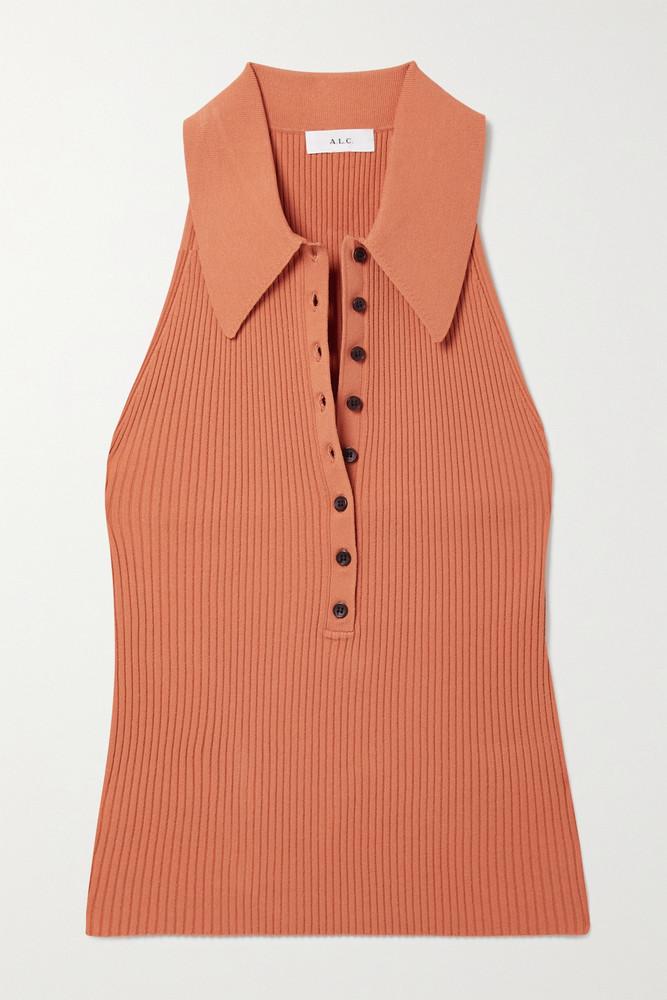 A.L.C. A.L.C. - Asher Cropped Ribbed-knit Top - Orange