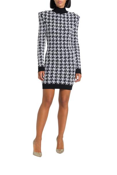 Balmain Houndstooth Tweed Crochet Dress in nero / bianco