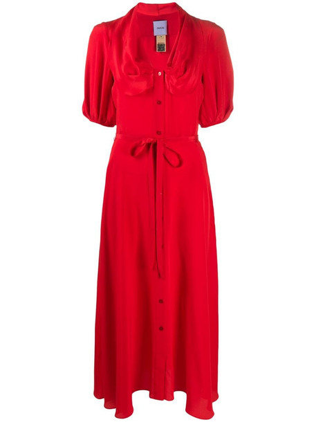 Patou tie-waist shirt dress in red