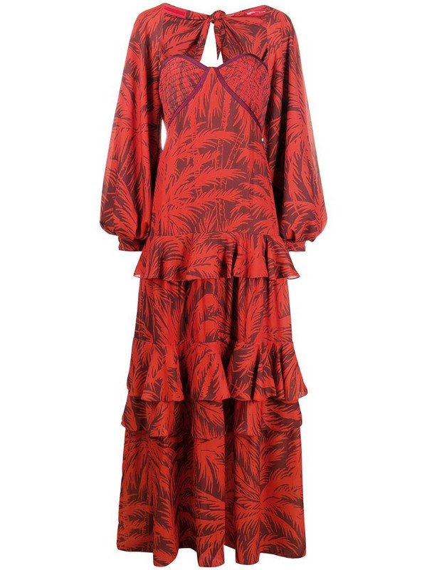 Johanna Ortiz convertible floral tiered dress in red