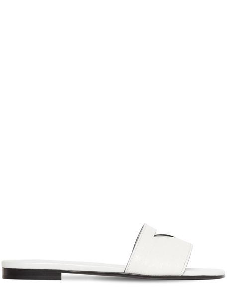 PRADA 10mm Embossed Lizard Print Leather Flats in white