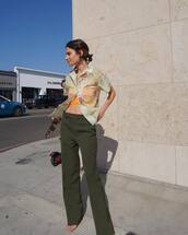 pants,high waisted pants,straight pants,sandals,floral shirt,short sleeve