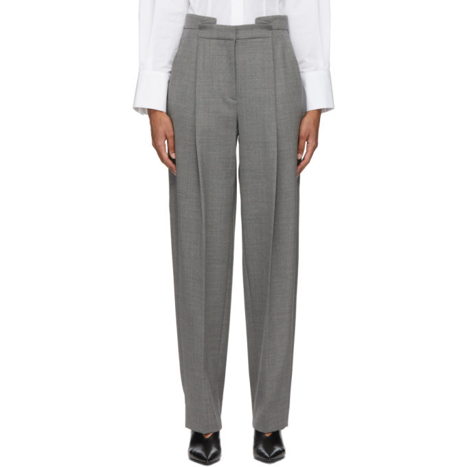 Partow Grey Wool Charlie Trousers in gray