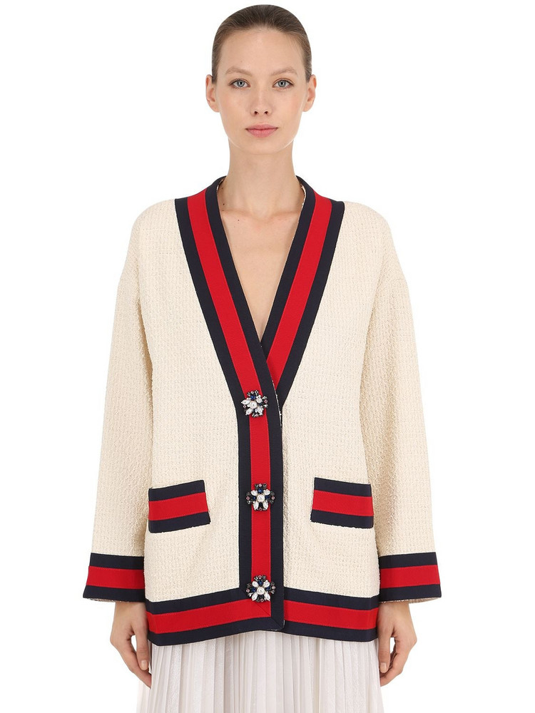 GUCCI Tweed Cardigan Jacket W/ Jewel Buttons in ivory