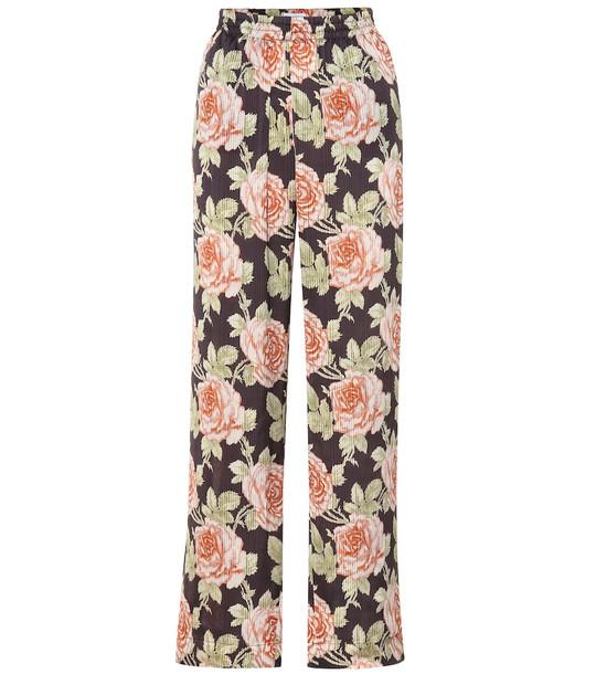 Paco Rabanne Floral wide-leg satin pants