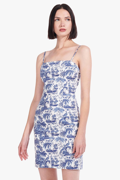 Staud BASSET DRESS | CHINA BLUE TOILE