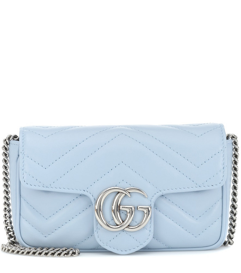 Gucci GG Marmont Mini leather shoulder bag in blue