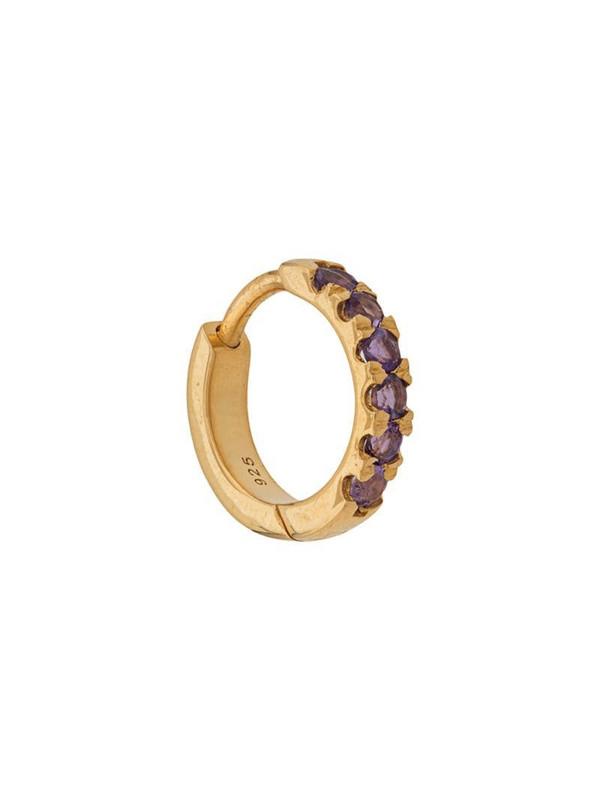 Northskull Huggie amethyst hoop earring in gold