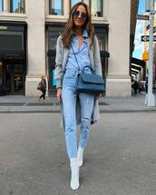 top,shirt,blue shirt,ripped jeans,white boots,ankle boots,chanel bag,crossbody bag,grey cardigan,knitted cardigan