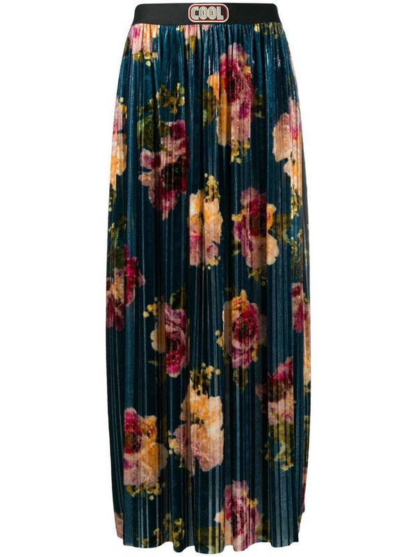 COOL T.M floral print velvet pleated skirt in blue