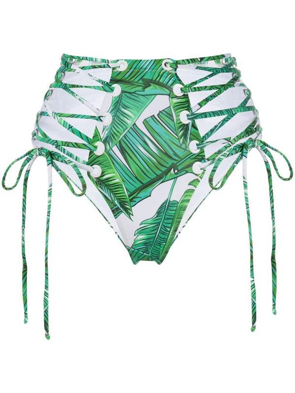 Noire Swimwear Jungle high-waist bikini bottoms in green