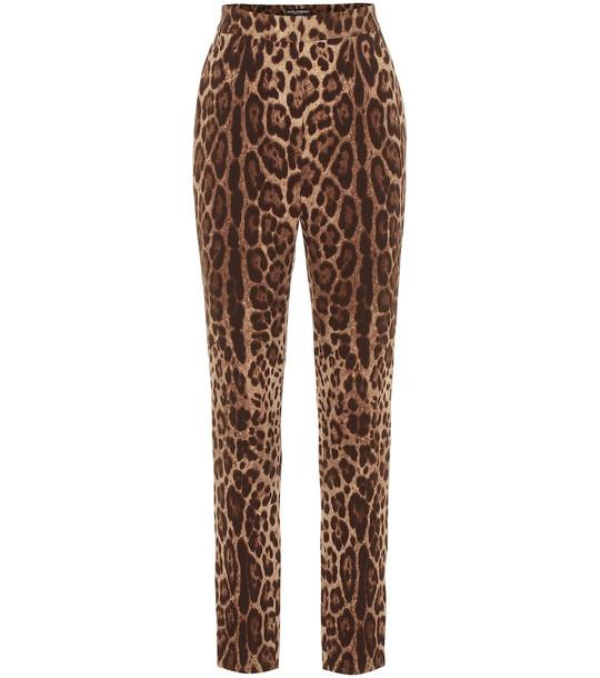 Dolce & Gabbana Leopard-print high-rise wool pants