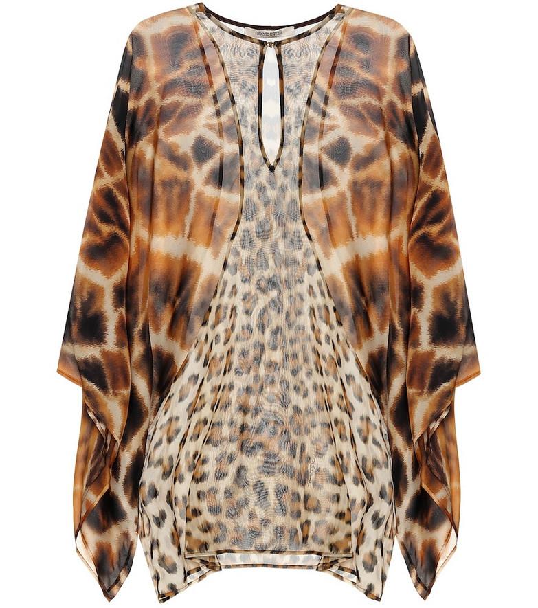 Roberto Cavalli Animal-print silk kaftan in brown