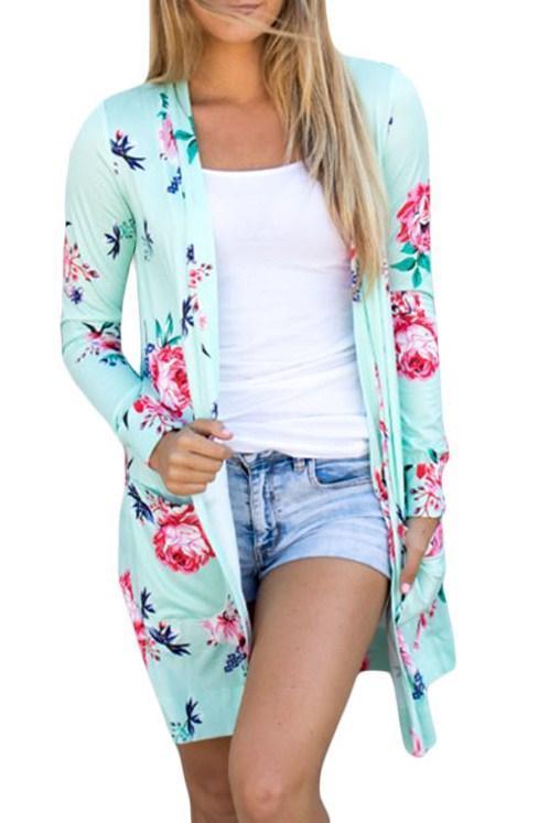 Mint Long Sleeve Pocket Floral Cardigan