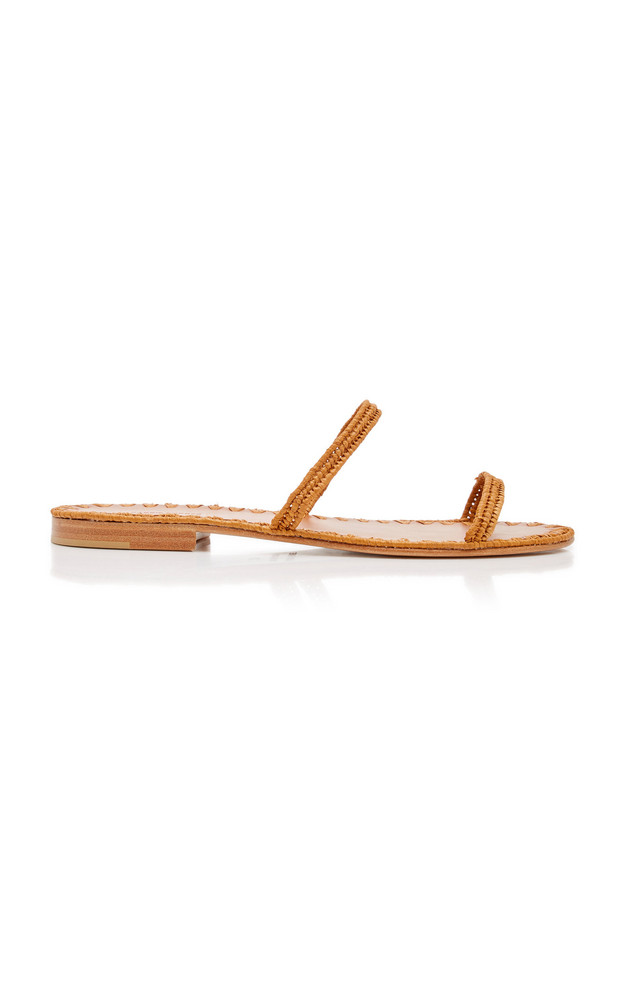 Carrie Forbes Salam Raffia Slide Sandals in brown
