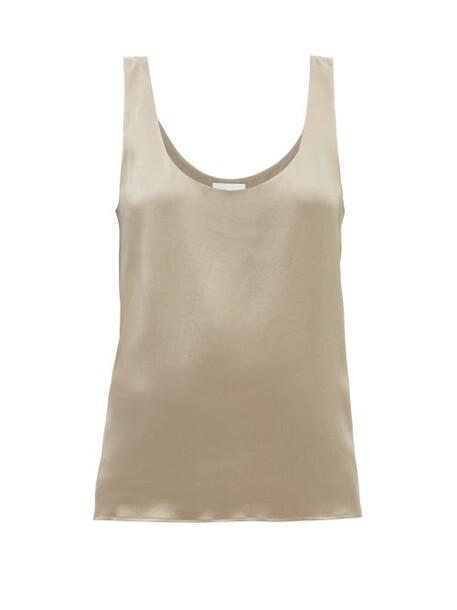 Raey - Scoop-neck Silk-crepe Satin Tank Top - Womens - Beige