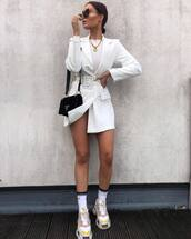 dress,blazer dress,mini dress,white dress,belted dress,sneakers,socks,white top,black bag