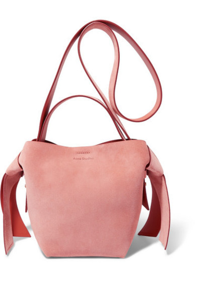 Acne Studios - Musubi Mini Knotted Suede Shoulder Bag - Pink