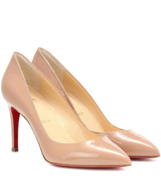Christian Louboutin Pigalle 85 patent leather pumps in beige