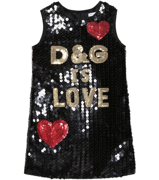 Dolce & Gabbana Kids D&G Is Love sequinned dress in black
