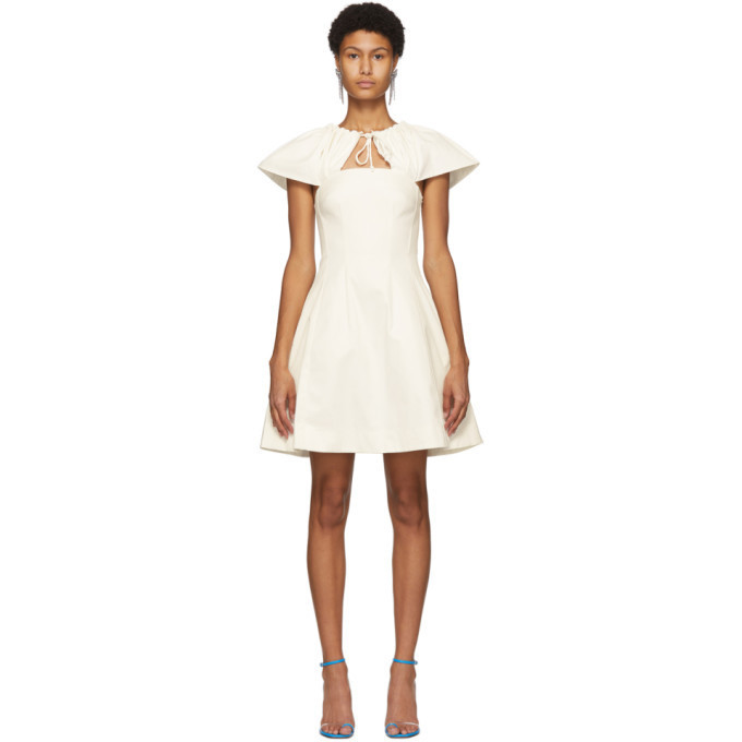 Edit Off-White Capelet Short Dress in ivory