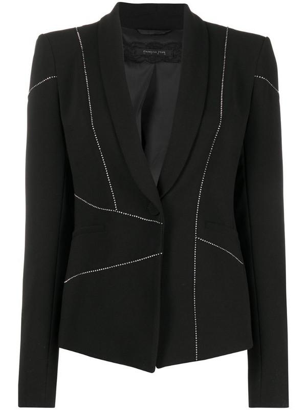 Patrizia Pepe crystal embellished asymmetric blazer in black