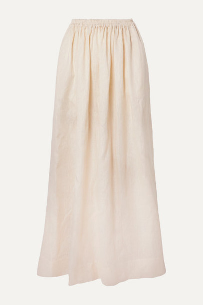 Matteau - Gathered Linen And Cotton-blend Maxi Skirt - Ivory