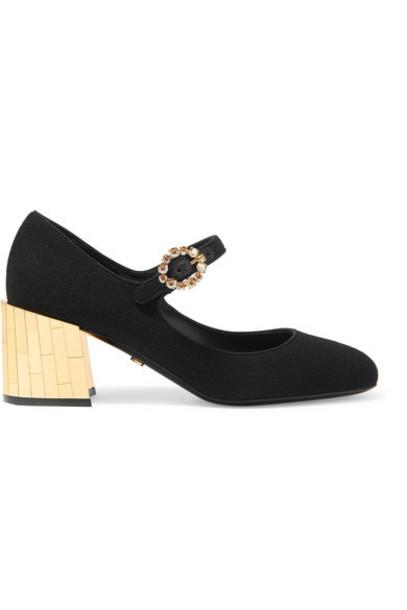 Dolce & Gabbana - Crystal-embellished Crepe Mary Jane Pumps - Black