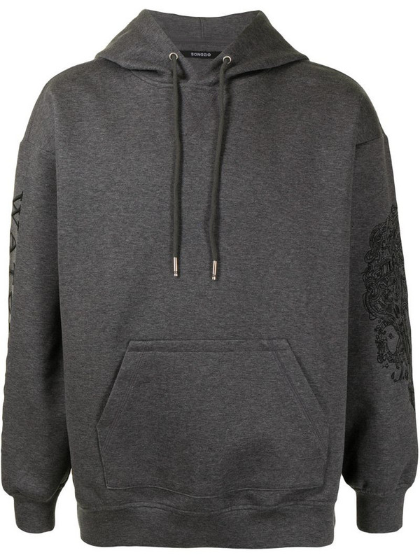SONGZIO logo-print drawstring hoodie in grey