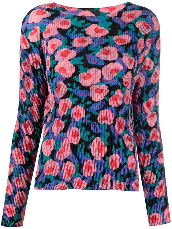 Issey Miyake floral-print crinkle-effect top in blue