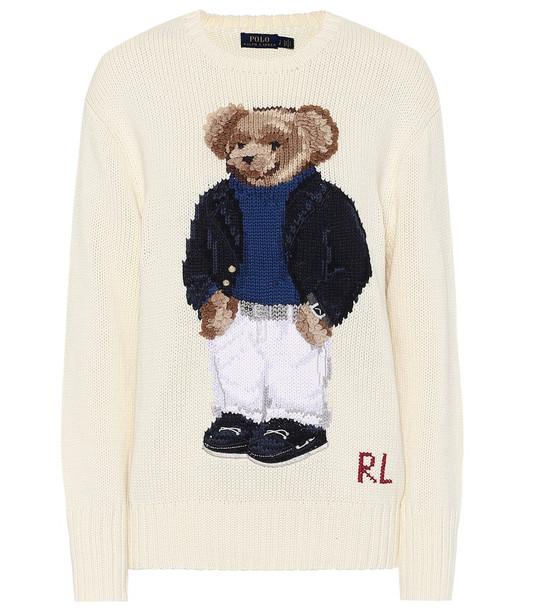 Polo Ralph Lauren Polo Bear cotton sweater in white