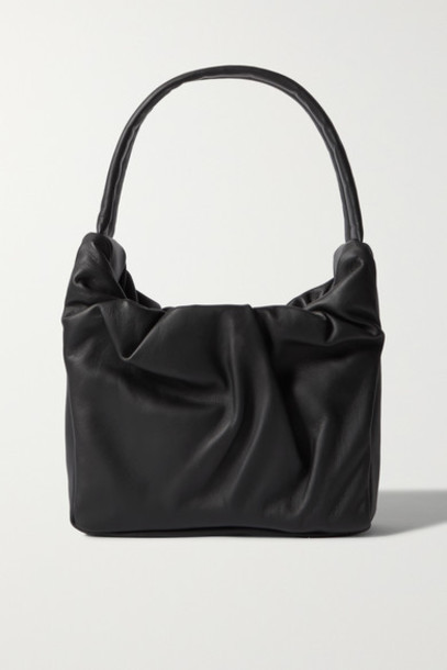 STAUD - Felix Ruched Leather Shoulder Bag - Black
