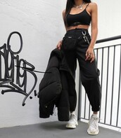 pants,black,supreme,belt,chain,crop tops,joggers,army pants,cargo pants