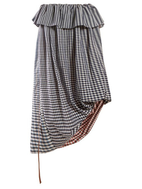 Loewe - Asymmetric Gingham Cotton Twill Midi Skirt - Womens - Blue Multi