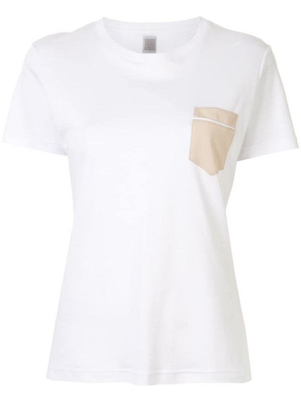 Eleventy contrast pocket T-shirt in white