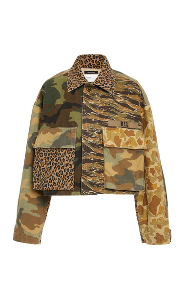 R13 Abu Camo Cropped Jacket in print