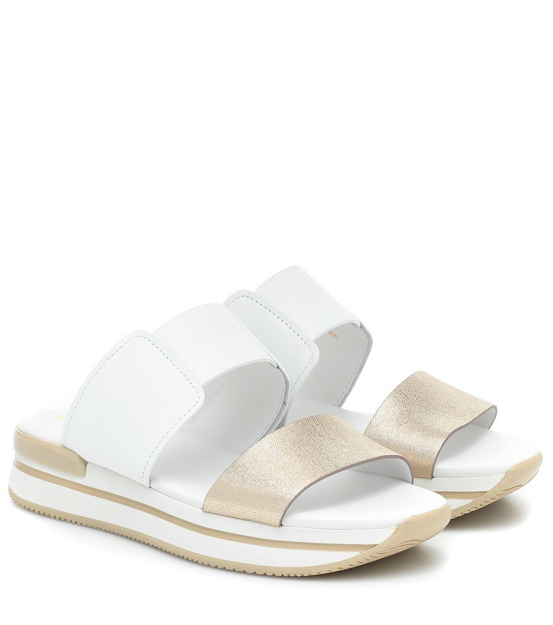 Hogan H257 leather sandals in white