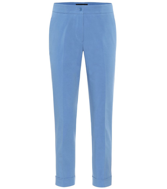 Etro Mid-rise stretch-cotton pants in blue