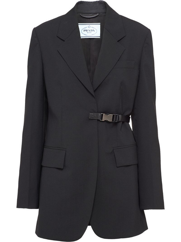 Prada single-breasted light wool jacket in black