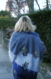 cardigan,jodie whittaker,blue,fluffy