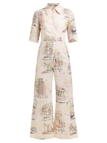 Emilia Wickstead - Figaro Italy Print Poplin Jumpsuit - Womens - Pink Print