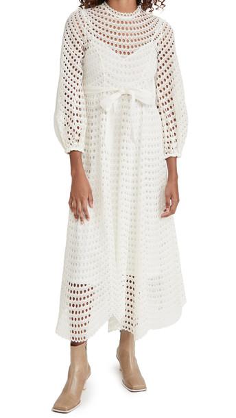 Zimmermann Poppy Eyelet Midi Dress in ivory